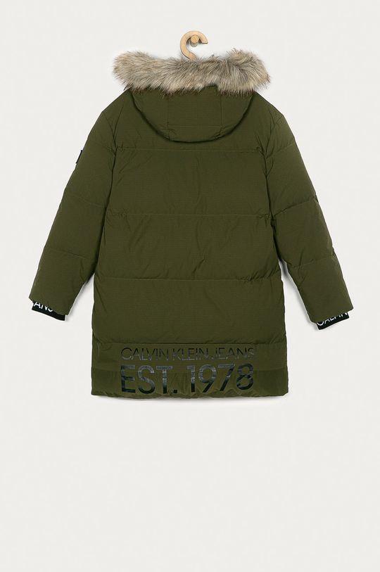Calvin Klein Jeans - Kurtka puchowa dziecięca 152-176 cm oliwkowy