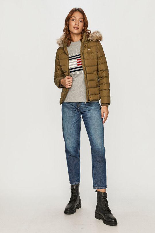 Tommy Jeans - Páperová bunda olivová