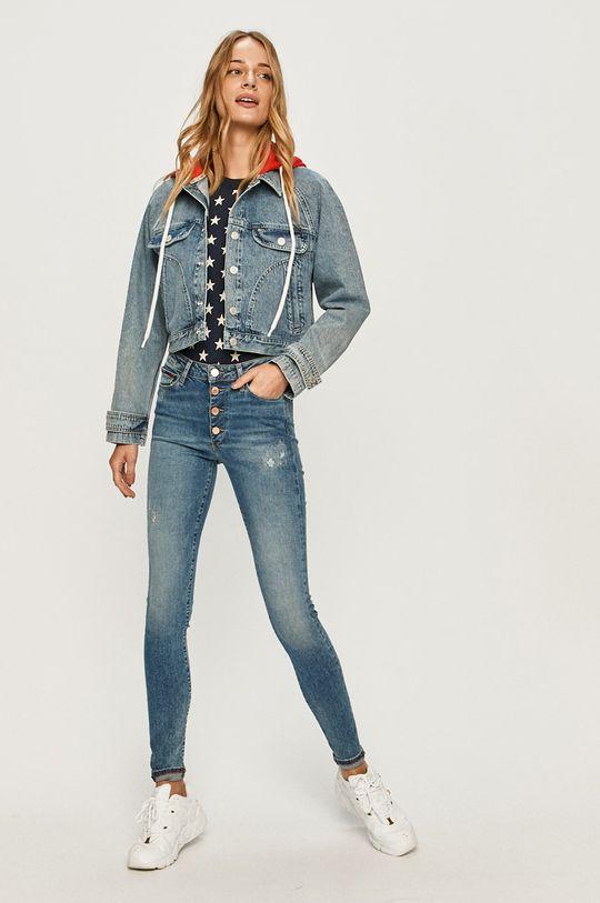 Tommy Jeans - Rifľová bunda modrá
