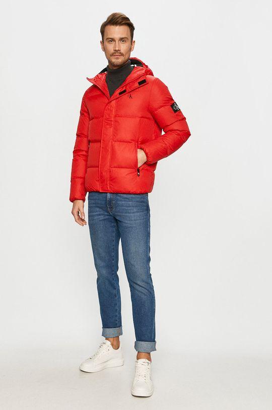 Calvin Klein Jeans - Geaca de puf rosu