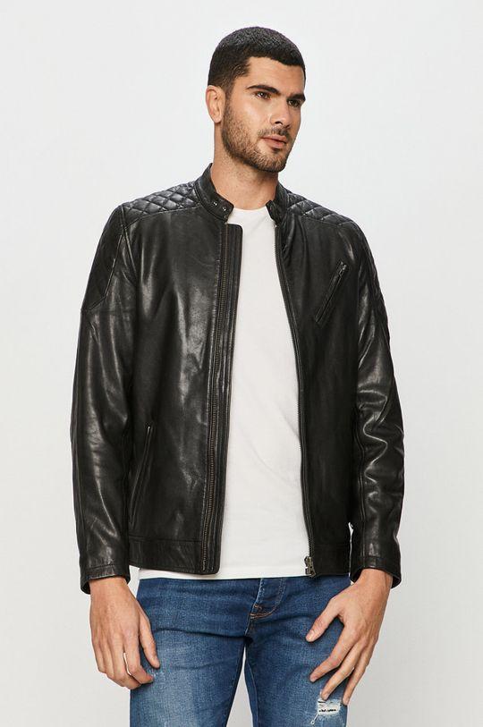 čierna Pepe Jeans - Kožená bunda Defoe Pánsky