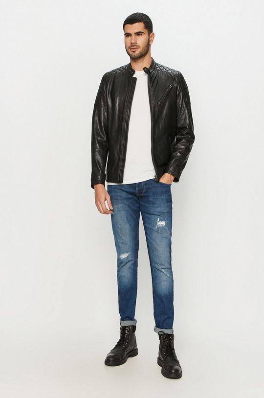 Pepe Jeans - Kožená bunda Defoe čierna