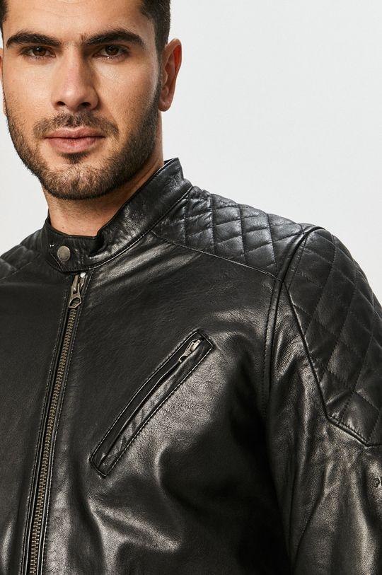 čierna Pepe Jeans - Kožená bunda Defoe