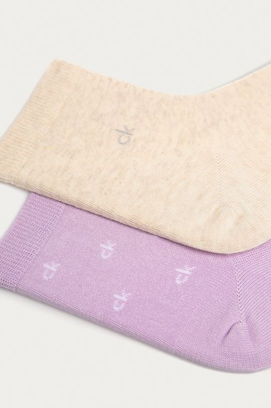 Calvin Klein - Kotníkové ponožky (2-pack) levandulová