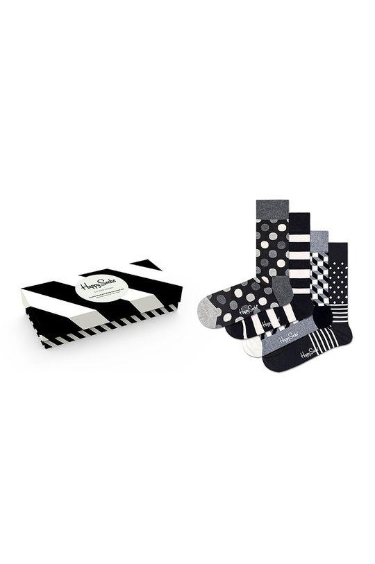 negru Happy Socks - Sosete Classic Black & White (4-pack) De femei