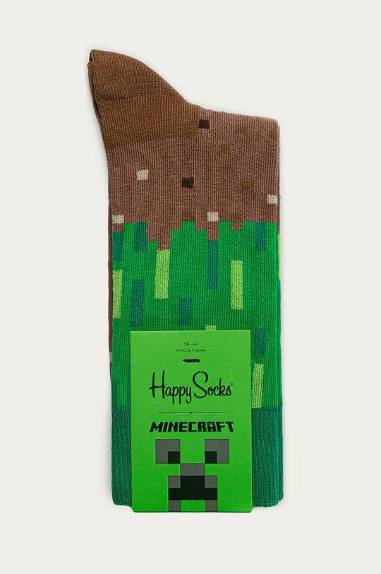 Happy Socks - Ponožky x Minecraft zelená