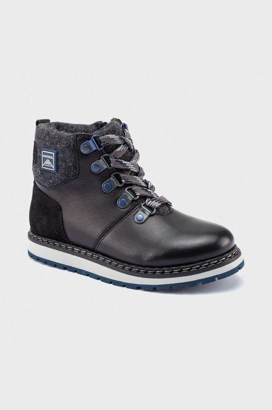 čierna Mayoral - Detské kožené topánky Chlapčenský