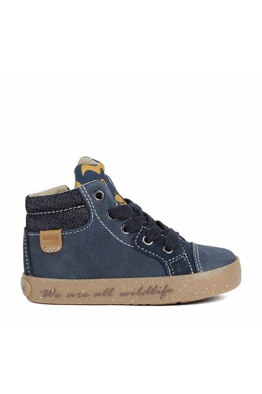 námořnická modř Geox - Dětské kožené boty Chlapecký