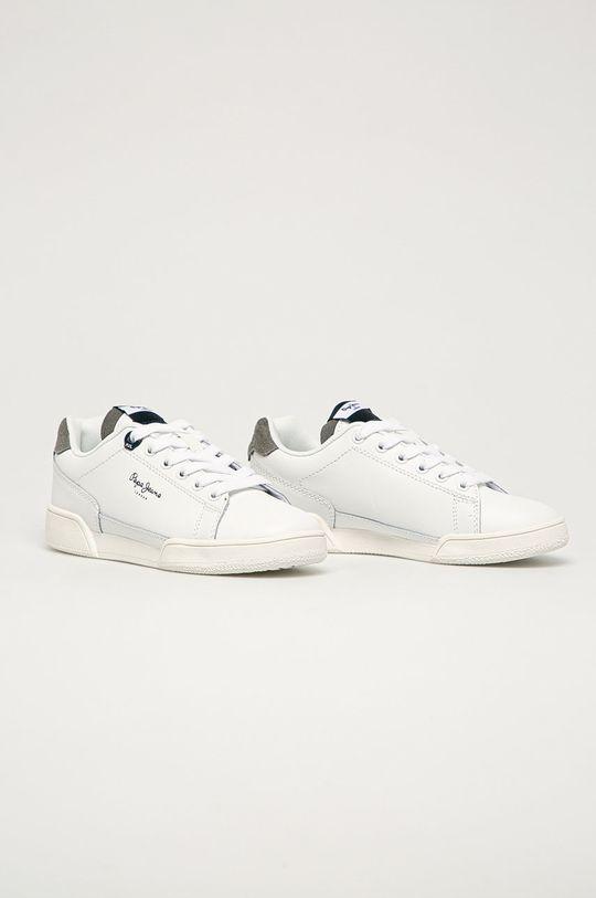Pepe Jeans - Dětské kožené boty Lambert Basic bílá