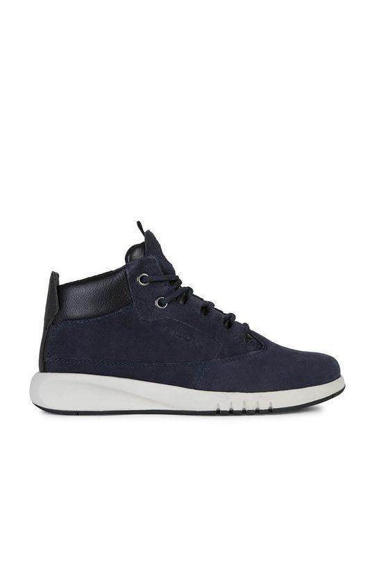 tmavomodrá Geox - Detské kožené topánky Chlapčenský