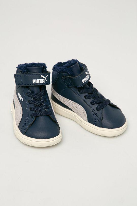 Puma - Detské topánky Smash v2 Mid L Fur V Inf tmavomodrá