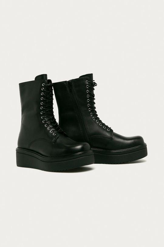 Vagabond - Kožené kotníkové boty Tara černá
