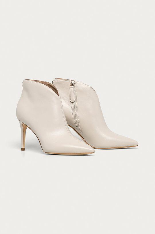 Guess Jeans - Kožené kotníkové boty písková