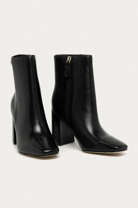Guess Jeans - Kožené kotníkové boty černá