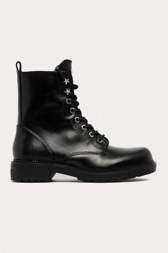 černá Guess Jeans - Kožené farmářky Dámský