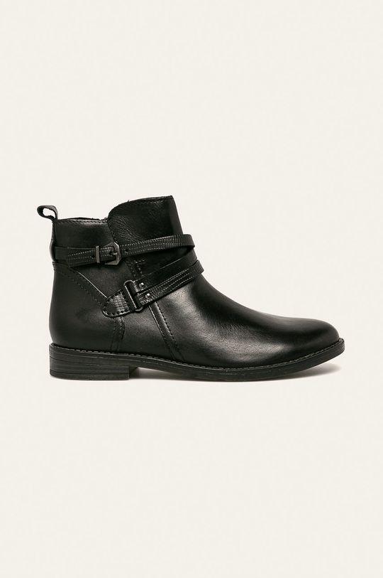 černá Marco Tozzi - Kožené kotníkové boty Dámský