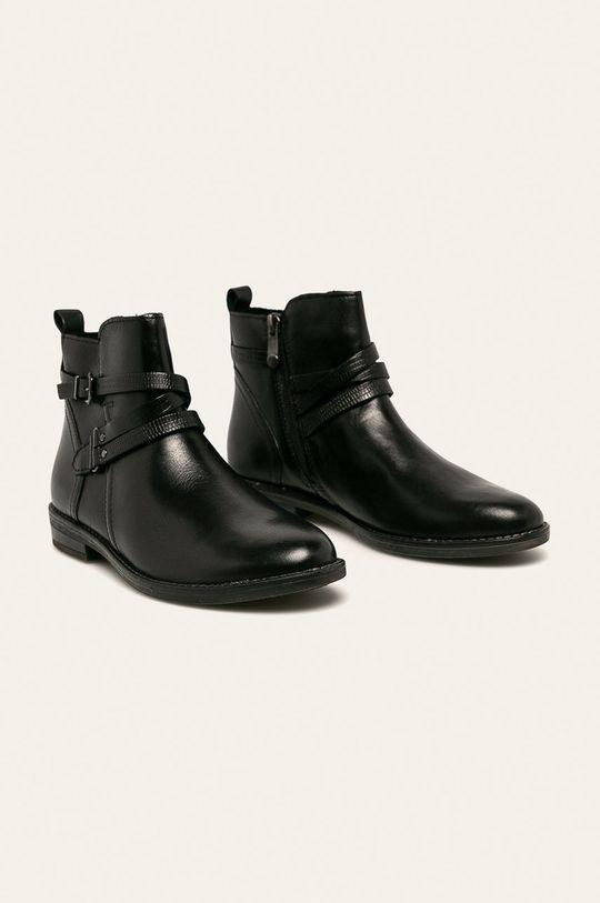 Marco Tozzi - Kožené kotníkové boty černá