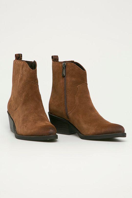 Marco Tozzi - Semišové kovbojské topánky kávová