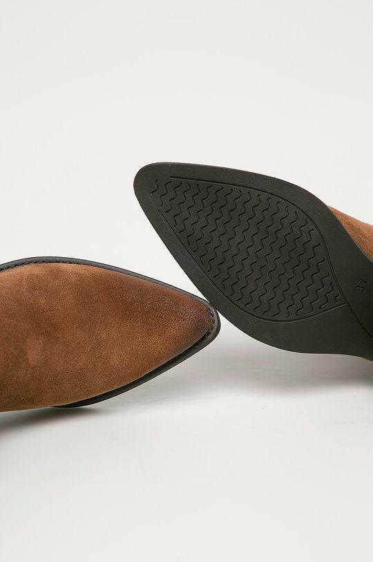 kávová Marco Tozzi - Semišové kovbojské topánky
