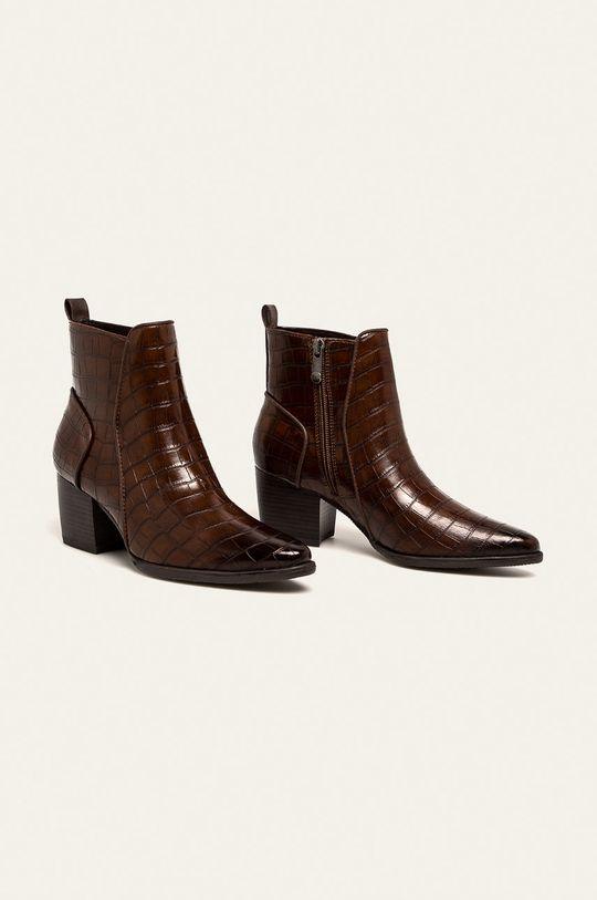 Marco Tozzi - Členkové topánky kávová