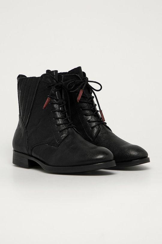 Marco Tozzi - Kožené workery čierna