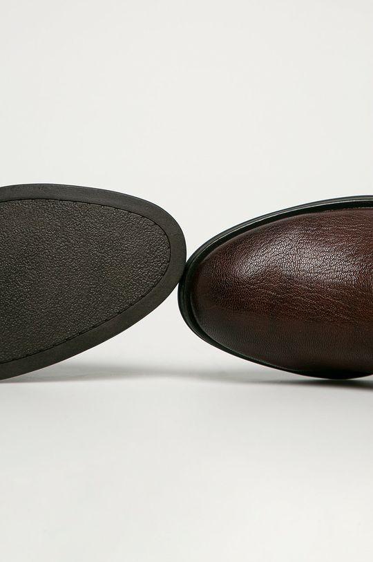 tmavohnedá Marco Tozzi - Kožené členkové topánky