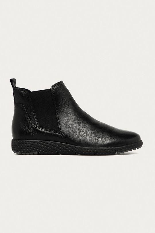 čierna Marco Tozzi - Kožené členkové topánky Dámsky