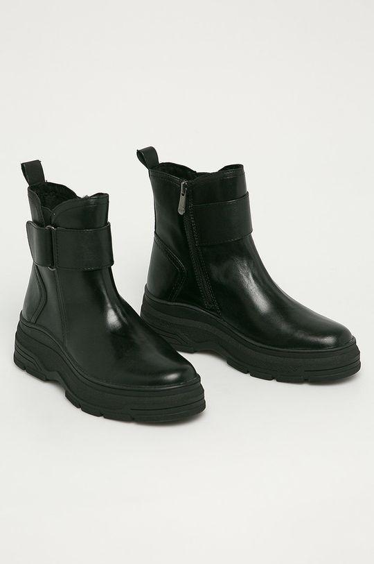 Marco Tozzi - Kožené členkové topánky čierna