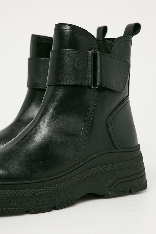 čierna Marco Tozzi - Kožené členkové topánky
