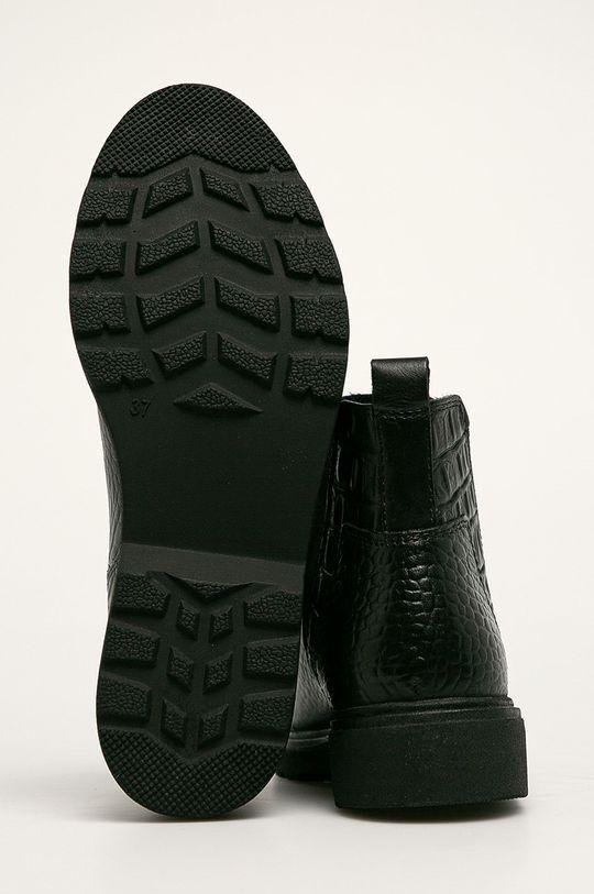 černá Marco Tozzi - Kožené kotníkové boty