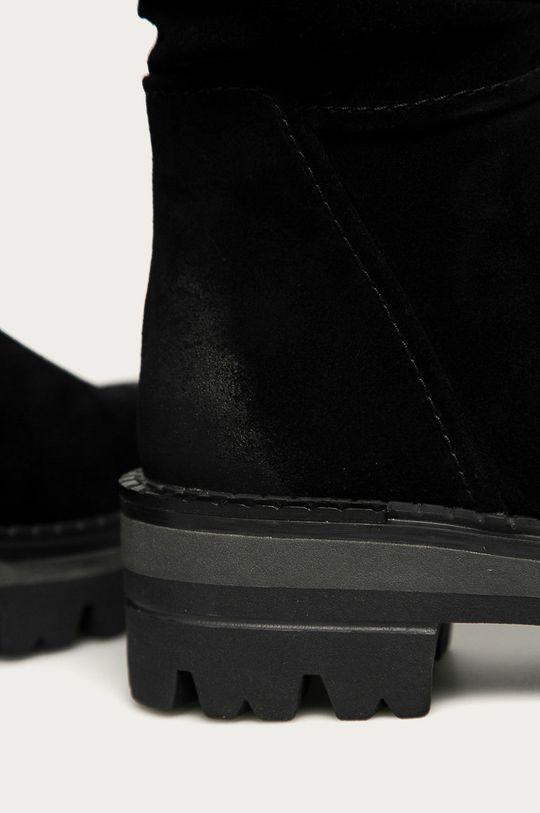 čierna Marco Tozzi - Kožené čižmy