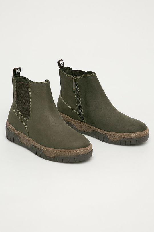 Marco Tozzi - Členkové topánky hnedozelená