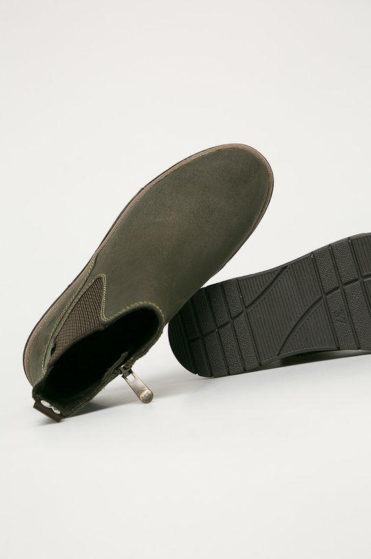 hnedozelená Marco Tozzi - Členkové topánky