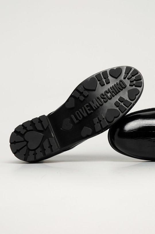 černá Love Moschino - Kožené polobotky