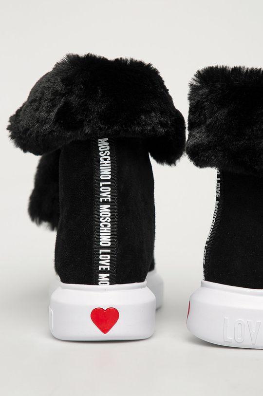 czarny Love Moschino - Botki zamszowe