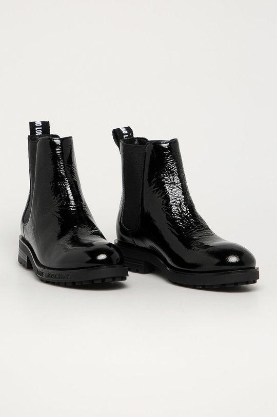 Love Moschino - Kožené kotníkové boty černá