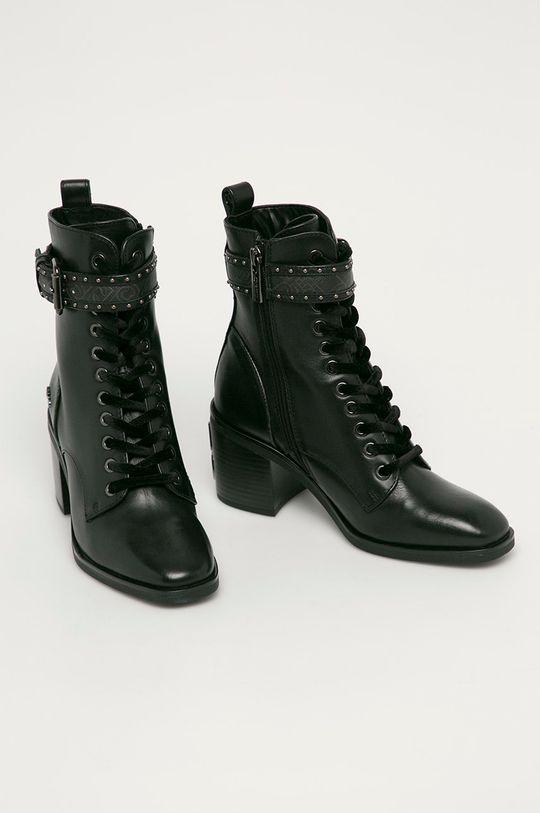 Liu Jo - Kožené kotníkové boty černá