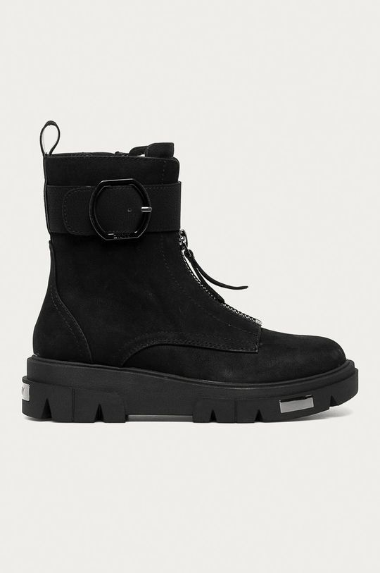 čierna Dkny - Kožené členkové topánky Dámsky