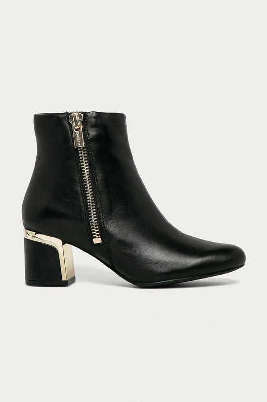černá Dkny - Kožené kotníkové boty Dámský
