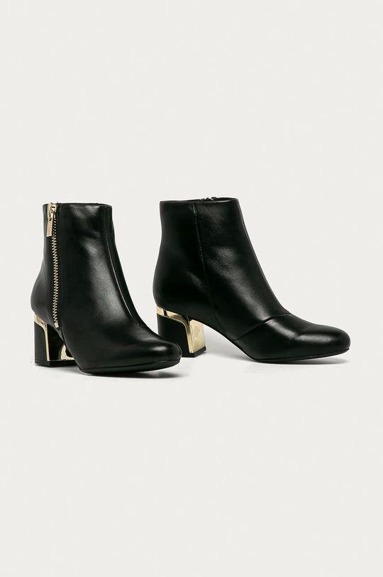 Dkny - Kožené kotníkové boty černá