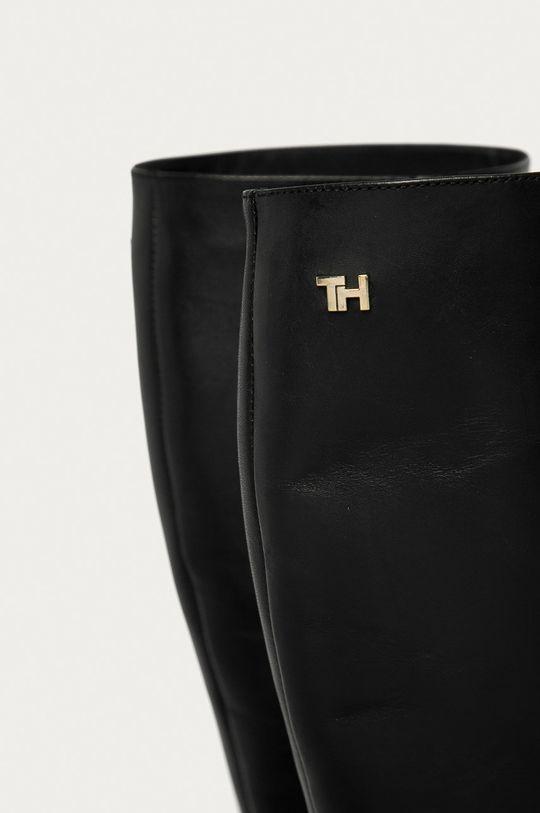 černá Tommy Hilfiger - Kožené kozačky