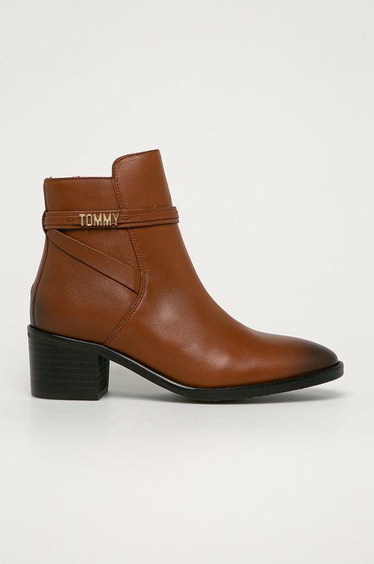 hnedá Tommy Hilfiger - Kožené členkové topánky Dámsky