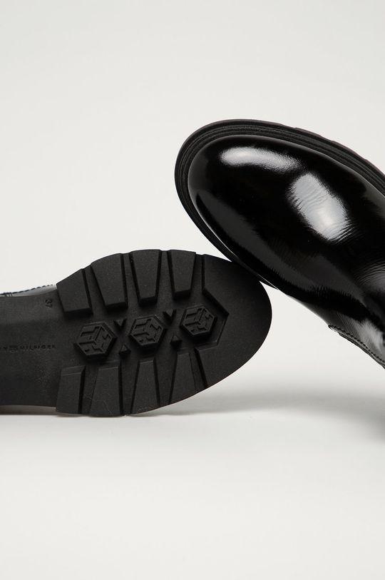 čierna Tommy Hilfiger - Kožené topánky Chelsea