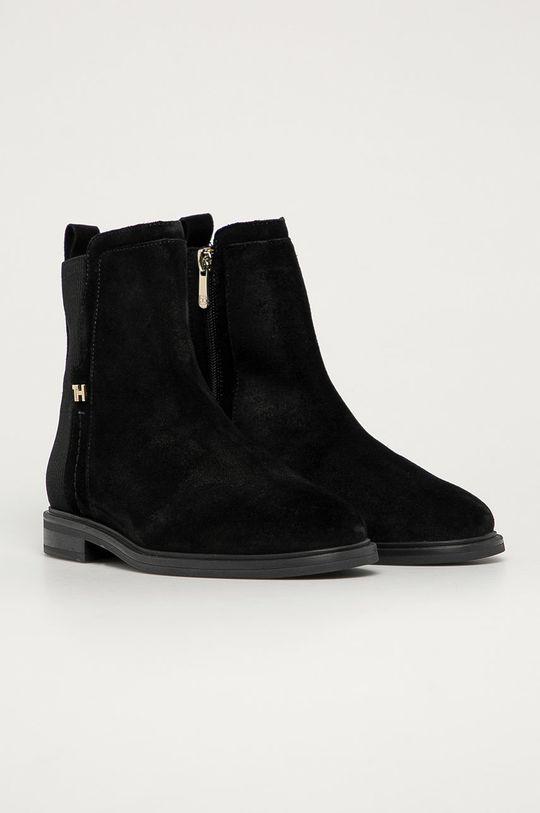 Tommy Hilfiger - Semišové topánky Chelsea čierna