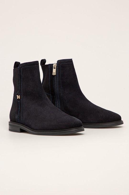 Tommy Hilfiger - Semišové topánky tmavomodrá