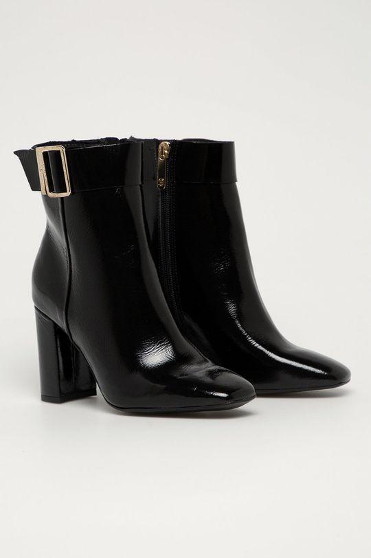 Tommy Hilfiger - Kožené členkové topánky čierna