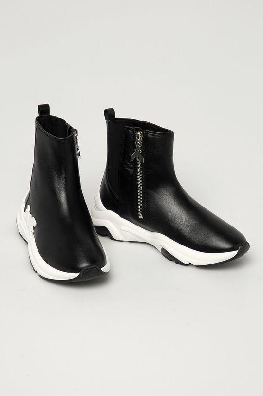 Patrizia Pepe - Kožené kotníkové boty černá