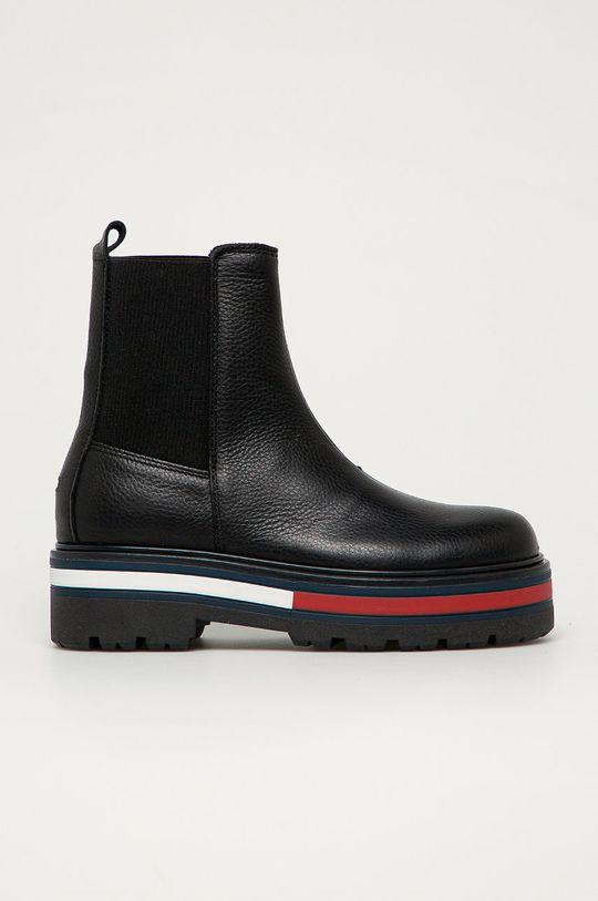černá Tommy Jeans - Kožené kotníkové boty Dámský