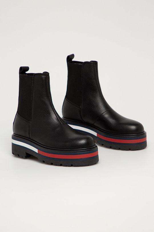 Tommy Jeans - Kožené kotníkové boty černá