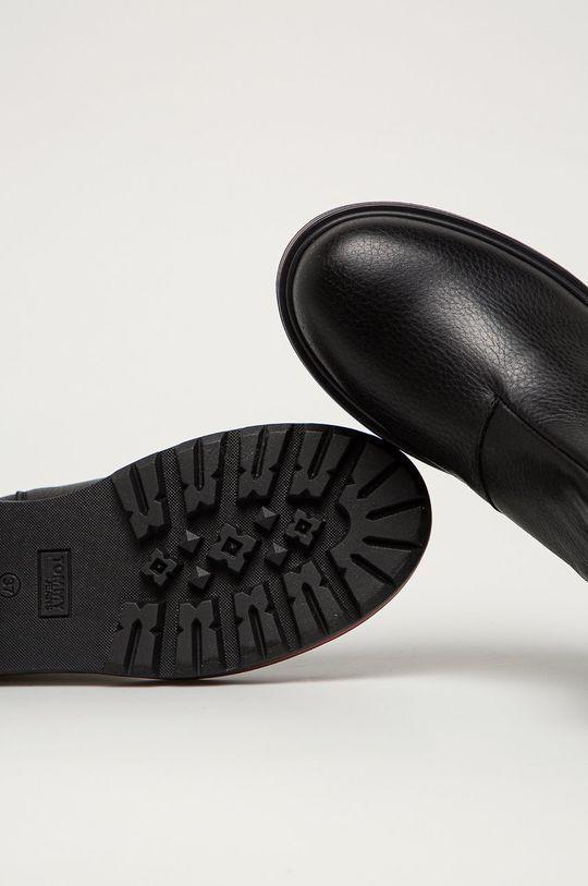 černá Tommy Jeans - Kožené kotníkové boty